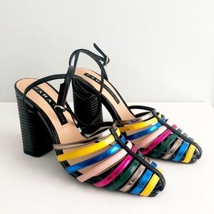 ZARA Special Edition Multi-Colored Strap Block Heeled Ankle Buckle Sandals